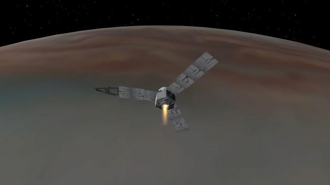 미국항공우주국(NASA)가 공개한 목성 주변을 도는 주노(JUNO) 상상도. - NASA/JPL-Caltech 제공